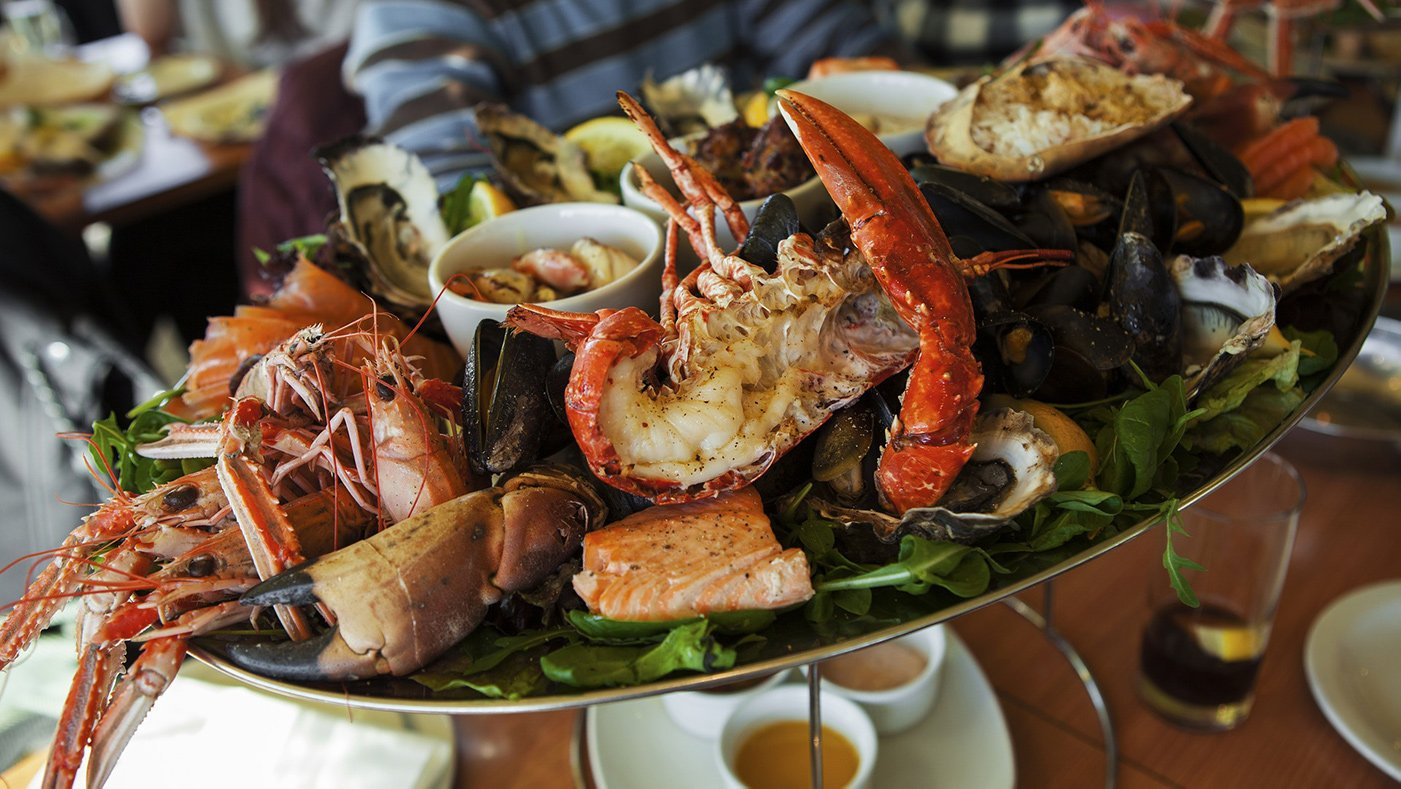 Freshly caught from a boating trip - local seafood platter: west coast seafood